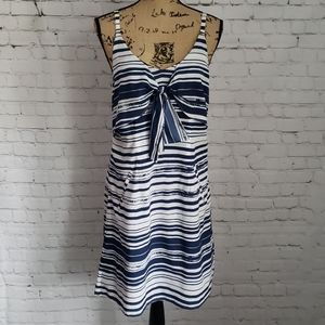 Cabi Navy Blue Knot Style Nautical Silk Dress